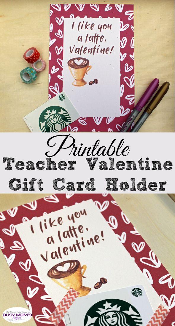 Printable Teacher Valentine Gift Card Holder  Teacher Gift and