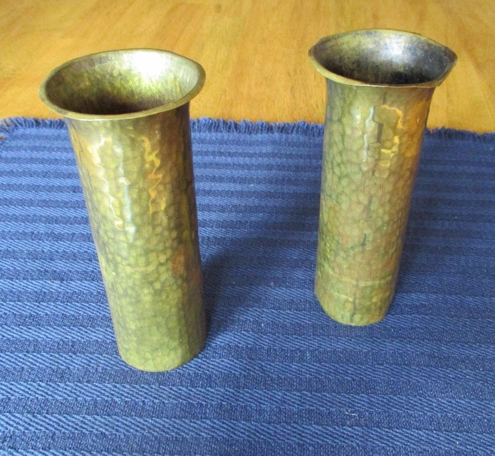 Pair 1917 arts and crafts mission turchin company ny hand hammered pair 1917 arts and crafts mission turchin company ny hand hammered copper vases reviewsmspy