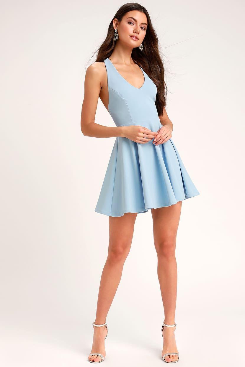 Lawson Light Blue Skater Dress Blue Dress Short Light Blue Skater Dress Casual Dresses For Women [ 1245 x 830 Pixel ]