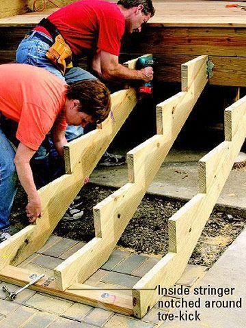 How To Build Deep And Wide Deck Stairs Deckdesigns Escaliers De Terrasse Escalier Exterieur Bois Escalier Exterieur