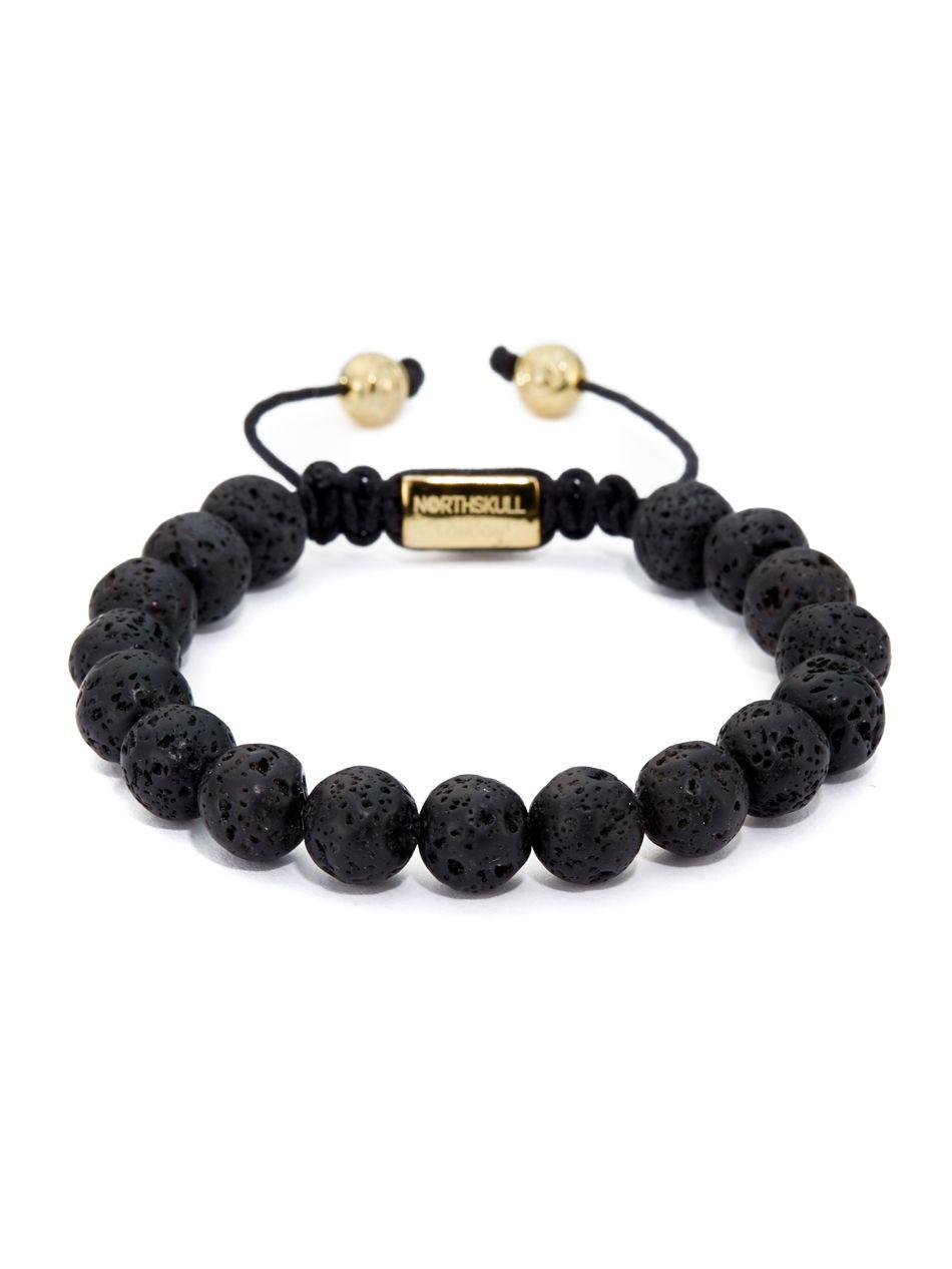 1379b14195ea NORTHSKULL - Lavastone + 18kt. Gold Bracelet