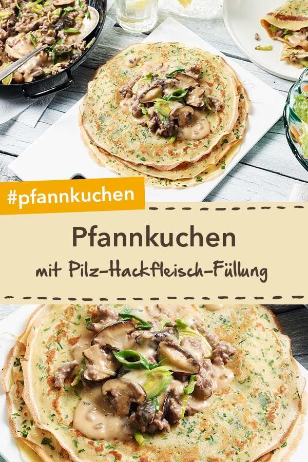 Pfannkuchen mit Pilz-Hackfleisch-Füllung #healthycrockpotchickenrecipes