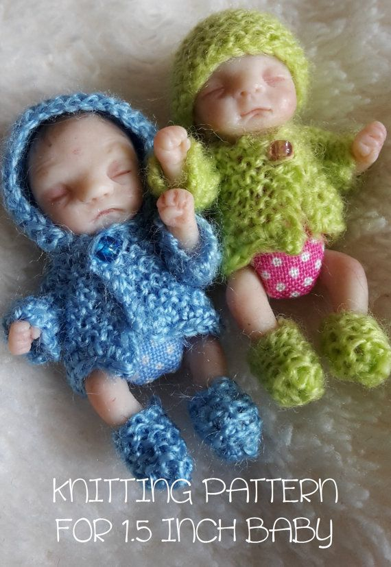 Miniature Knitting Pattern To Make Jacket Hat Bootees For 15