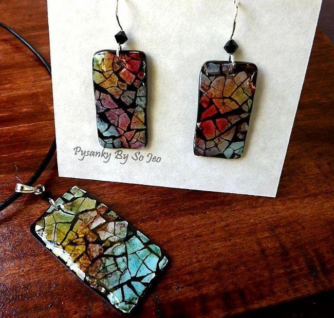 Rainbow Rectangles Eggshell Mosaic Earrings Pendant