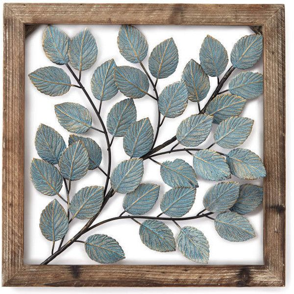 Framed Metal Wall Art blue leaves framed metal wall décor ❤ liked on polyvore featuring