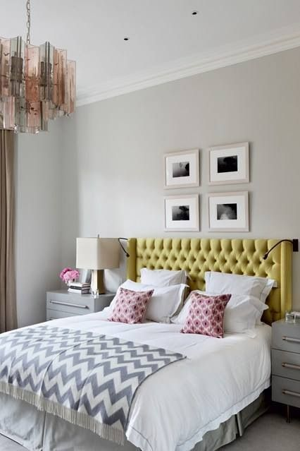 Bedroom Yellow Headboard Grey Zig Zag Throw Colors Grey Yellow