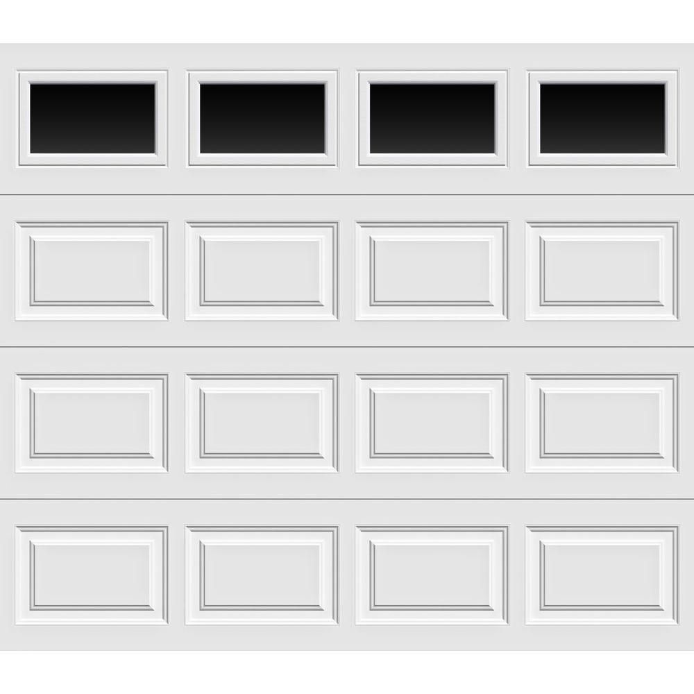 Clopay Classic Collection 8 Ft X 7 Ft 18 4 R Value Intellicore Insulated White Garage Door With Plain Windows Hdp20 Sw Plain The Home Depot Garage Doors Garage Door Panels Garage Door Windows