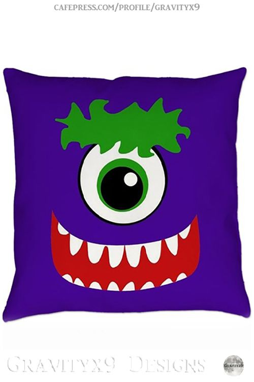 """*  Funny Kawaii Smiling Purple One Eyed Monster"""" Decorative Throw Pillow"""