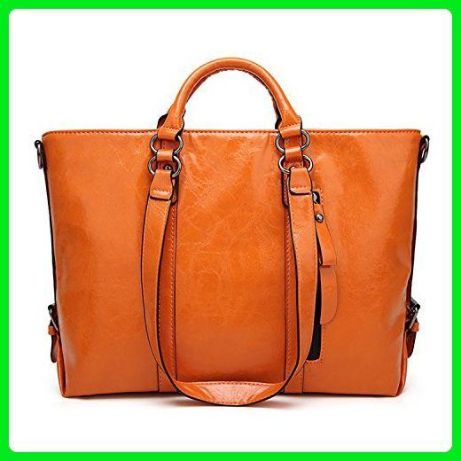 Women s Vintage Handbag PU Leather Shoulder Bag Tote Bags Satchel Large  Cross Body Purse (Orange 58fbbd323df57