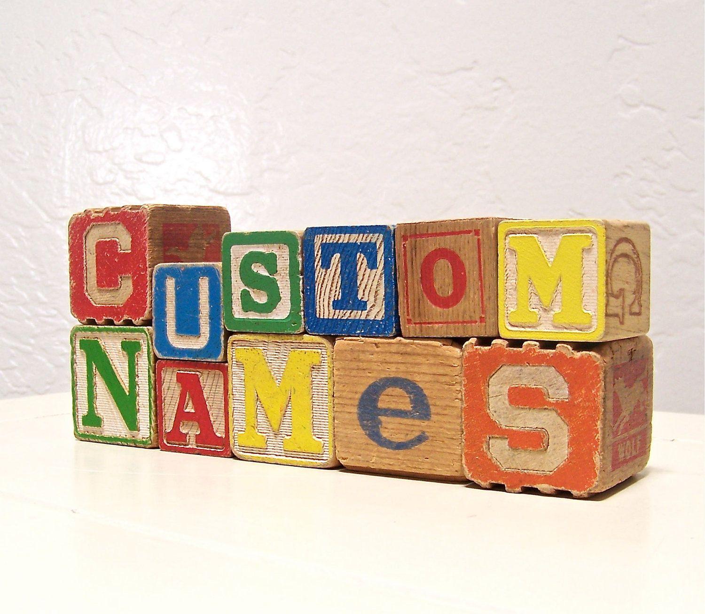 vintage wooden letter blocks custom names 1999 via etsy