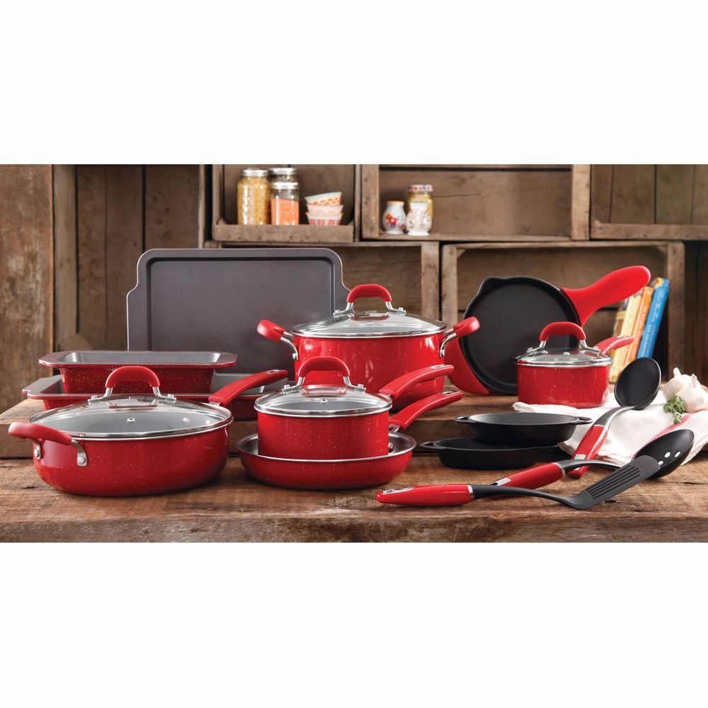 The Pioneer Woman Vintage Speckle 20-Piece Cookware Combo Set ...