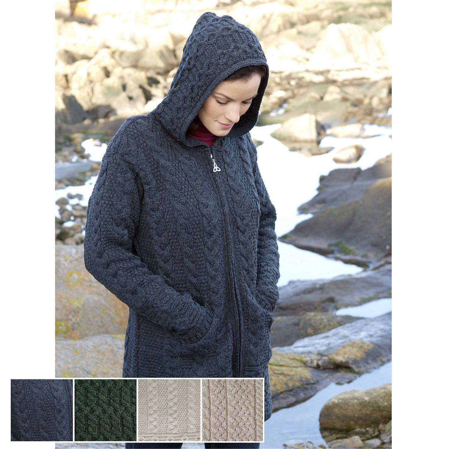 Ladies Soft Merino Wool Hooded Celtic Zip Aran Coat | me likey ...