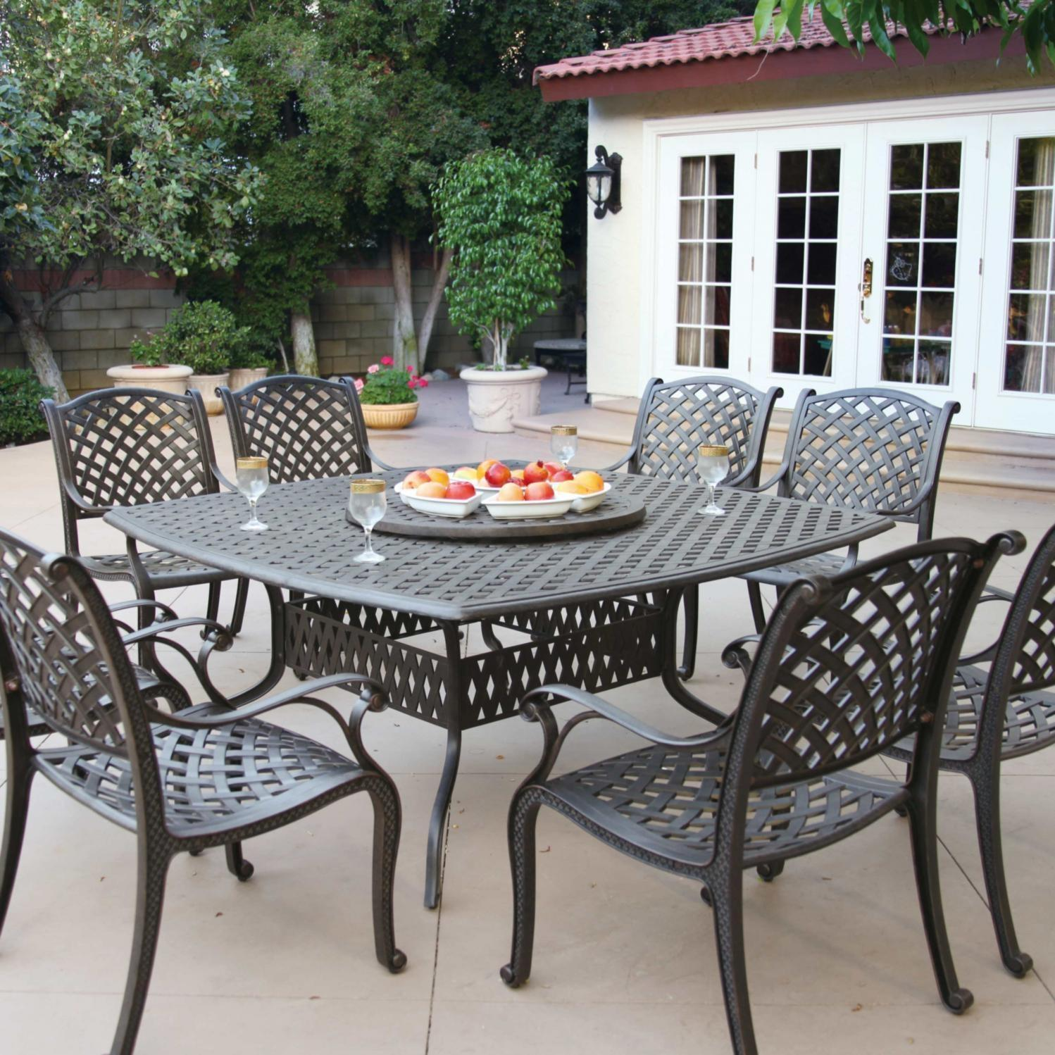 Darlee Nassau 9 Piece Cast Aluminum Patio Dining Set With Lazy