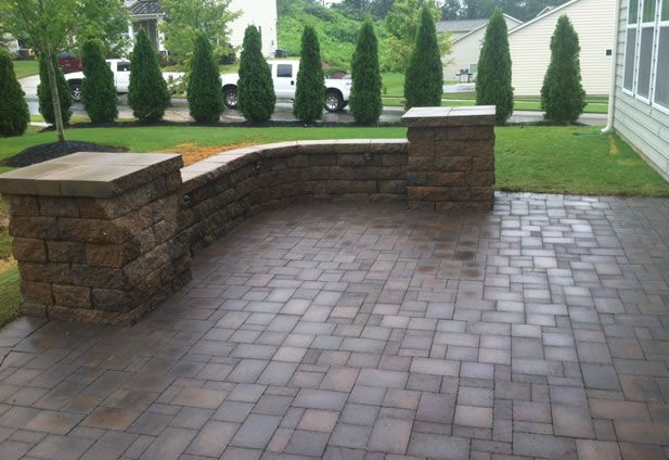 Paver Patio Sitting Wall And Landscape Lighting Charlotte Nc