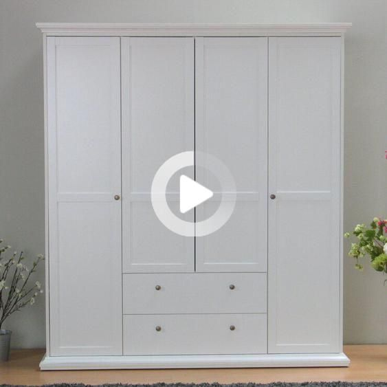 Features: Material: Engineered wood Number of drawers: 2Number Doors: 4 quot color: White Behind the left and right door is #kitcheninspiration
