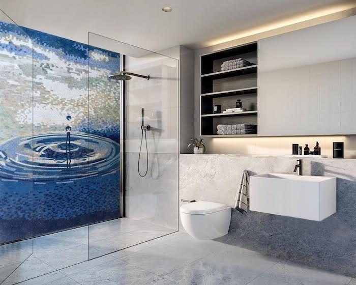 feng shui wohnen, badezimmer in weiß und blau, wasser, duschkabine - schiebetüren für badezimmer
