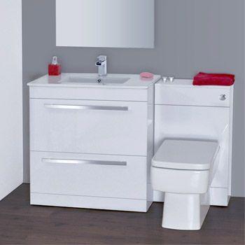 Nova High Gloss White Vanity Bathroom Suite W1300 X D400 200mm