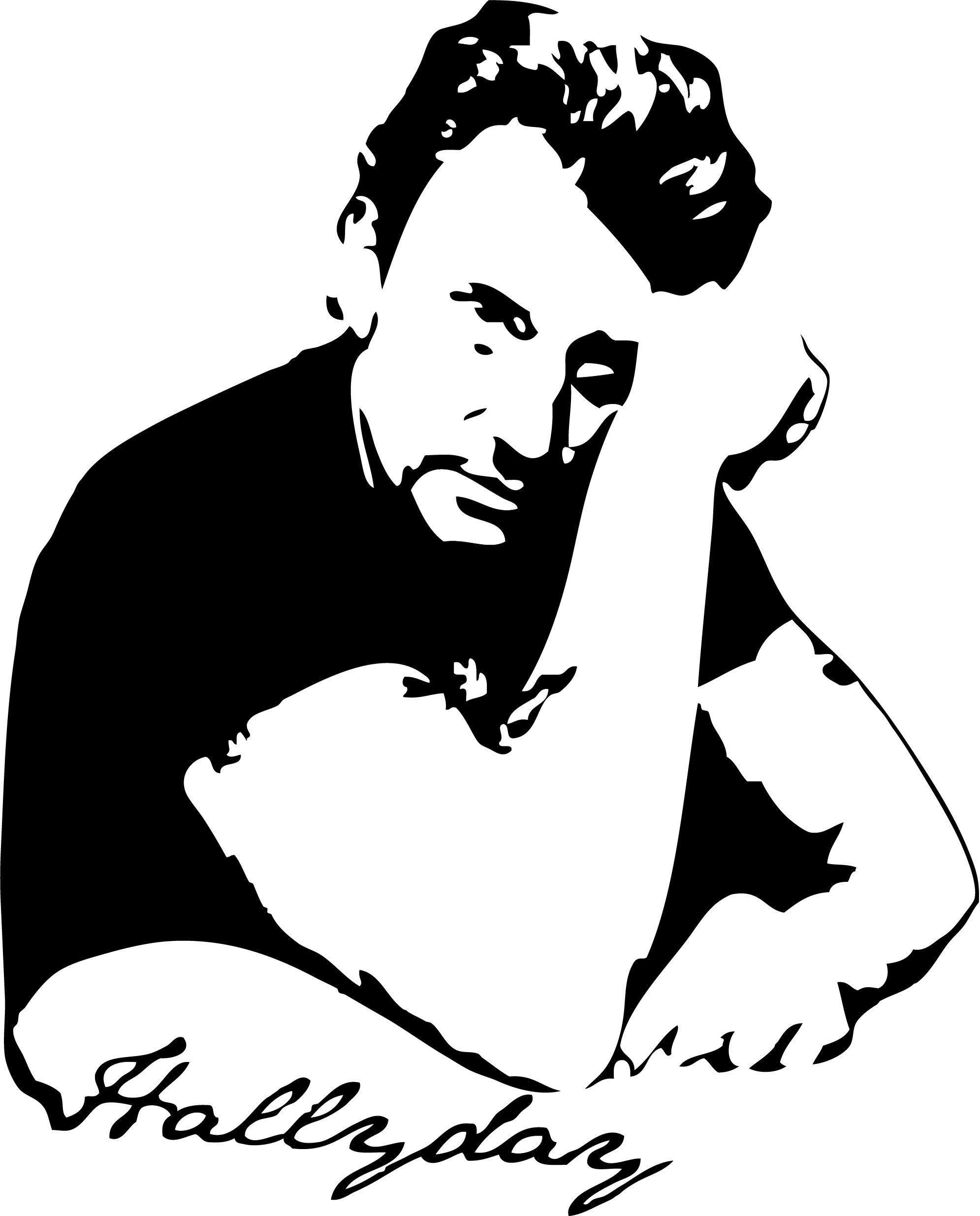Sticker Johnny Halliday Avec Signature Musique Chanteurs Groupes Etc Destock Stickers Pochoirs Visage Johnny Hallyday Pochoir Silhouette