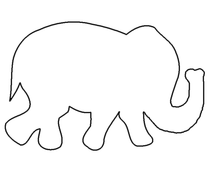 Clean image in elephant outline printable