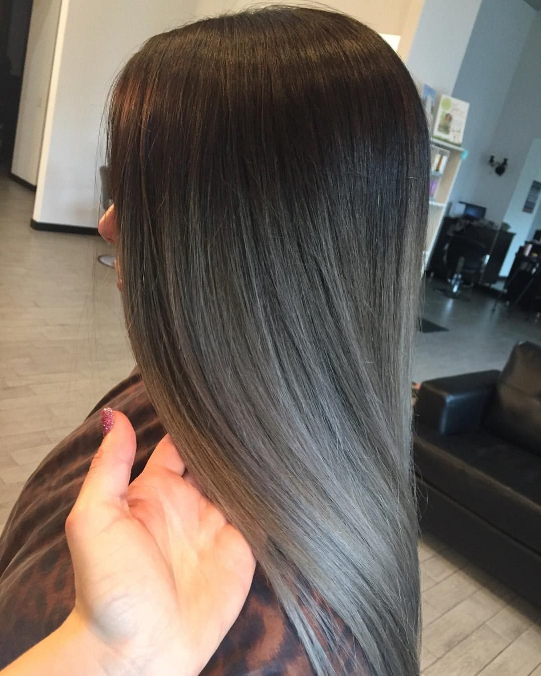 Black Silver Gray Color Ash Hair Rooted Silver Gray Hair Color Melt Hair By Caitlin Caitlinrocksm Color Melting Hair Black Hair Dye Black Hair Balayage