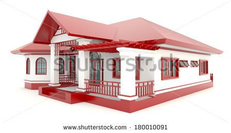3D red vintage house exterior design in isolated background, create ...