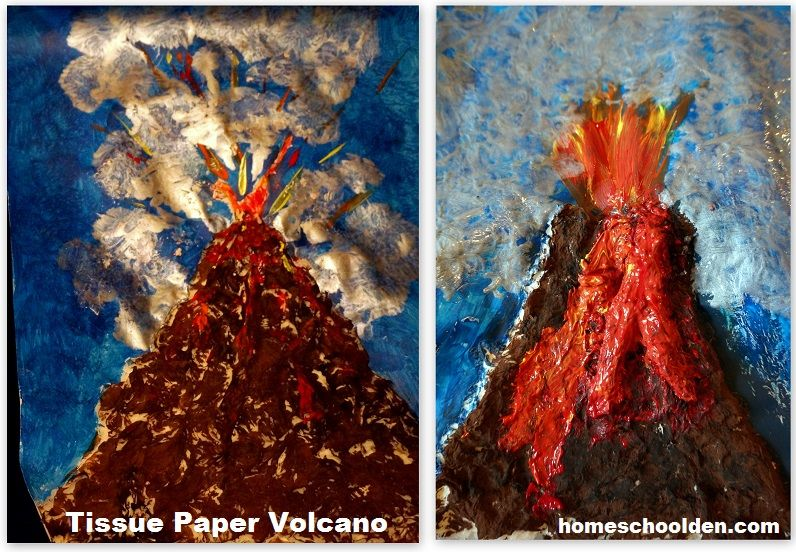 volcano crafts for preschoolers tissue paper volcano activity earth science on 765