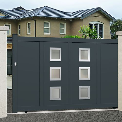 portail alu coulissant plein droit emalu dayton disponible en gris ou blanc de 3m 5m. Black Bedroom Furniture Sets. Home Design Ideas