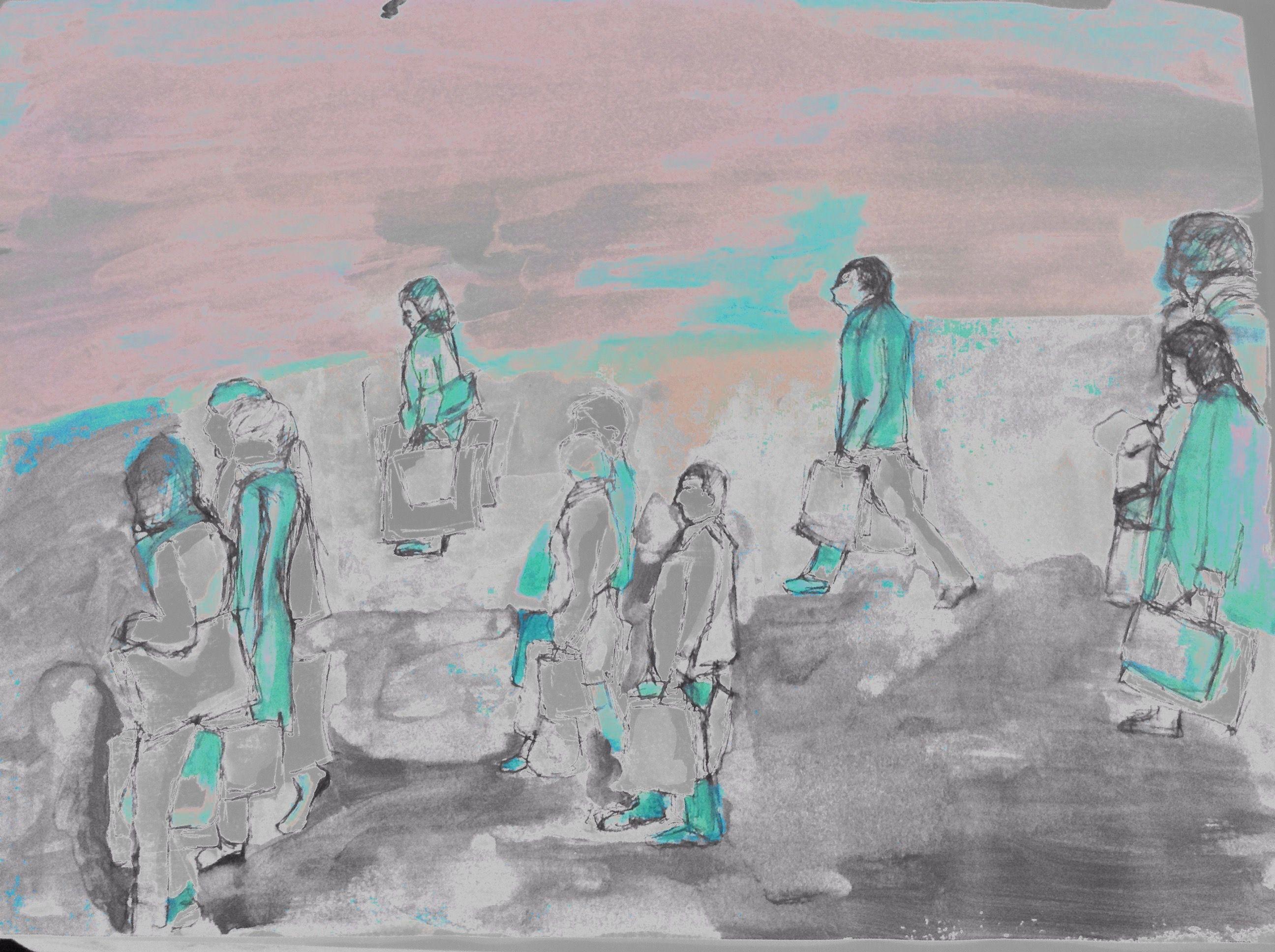 ABK MORTSEL - bewerkte foto van tekening, werk van sylvia