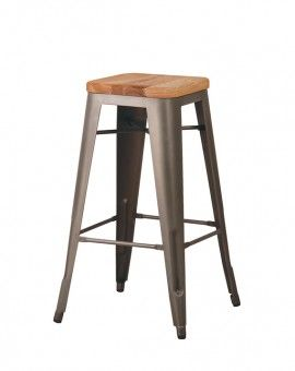 Cali 957 Backless Metal Barstool With Wood Seat With Images