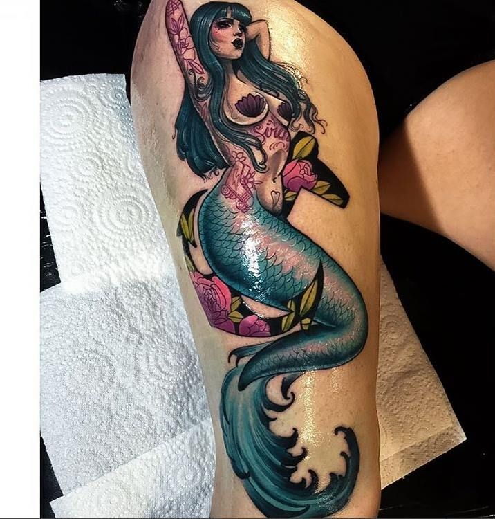 Neo Traditional Mermaid Tattoo: 64 Cool Mermaid Tattoo Idea That Can Make You Look