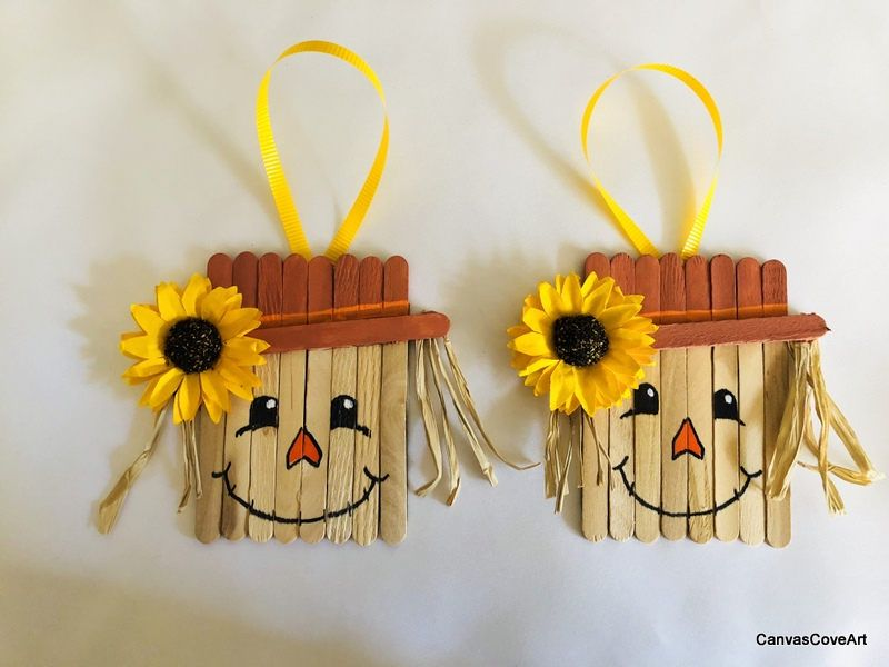 Popsicle Stick Scarecrow Hand Painted Thanksgiving Ornaments Set Of 2 Holiday Fall Decorations Gi Popcycle Stick Crafts Halloween Diy Crafts Craft Stick Crafts