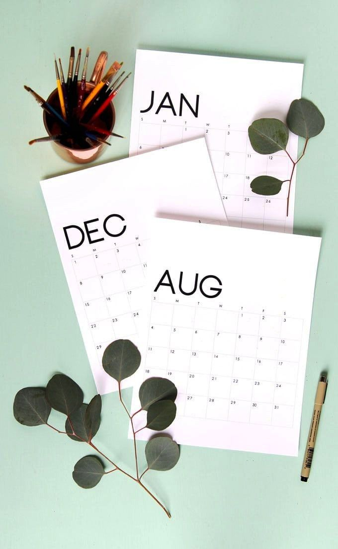 of the best free printable 2020 calendars to suit any taste And yes we said free Free printable 2020 calendar for the modern minimalist via A Piece of Rainbow  Cool Mom P...