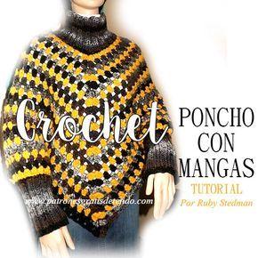 Poncho Tejido Con Ganchillo Con Mangas Y Cuello Alto Punto De Abuelita Y Elastico Crochet Poncho Crochet Videos Poncho