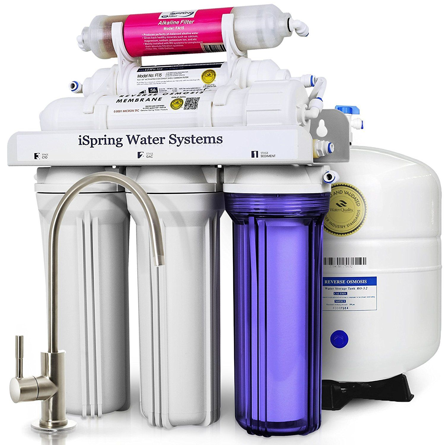 ISpring RCC7AK 6 Stage Under Sink Reverse Osmosis Drinking Water Filtration  System With Alkaline