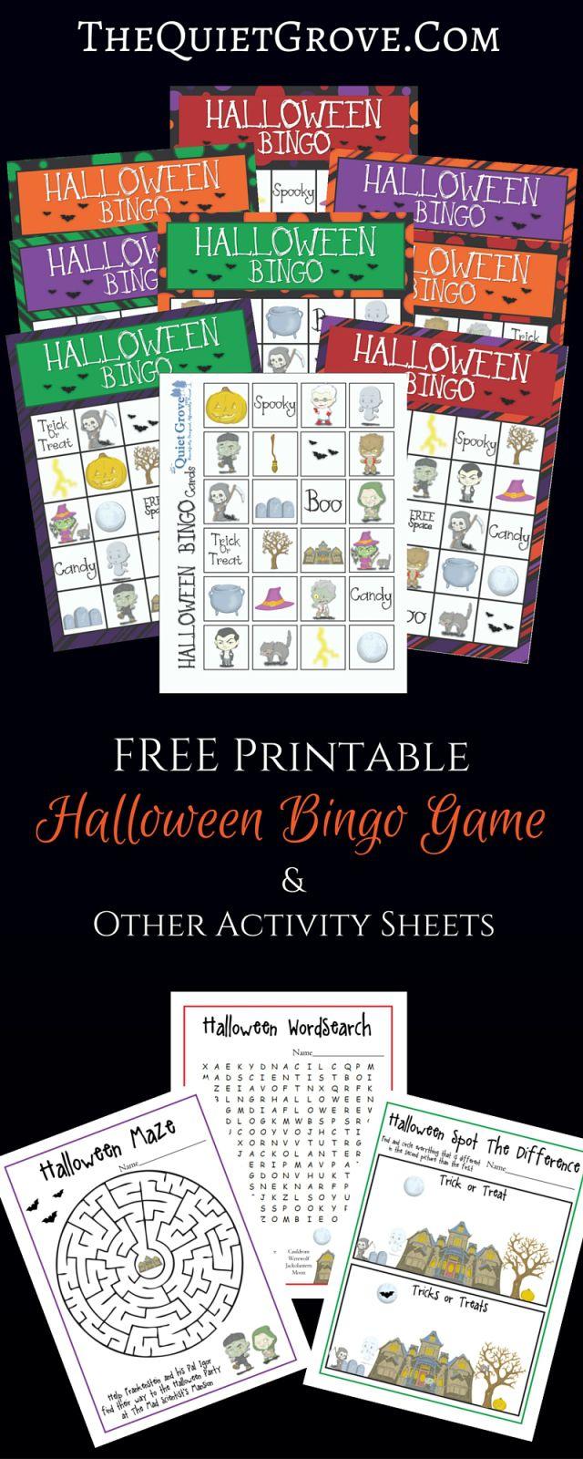 free printable halloween bingo game other activity sheets - Preschool Halloween Bingo