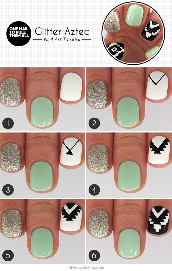 Glitter Aztec Nail Art | Divine Caroline - Glitter Aztec Nail Art Nail Designs Pinterest Aztec Nails