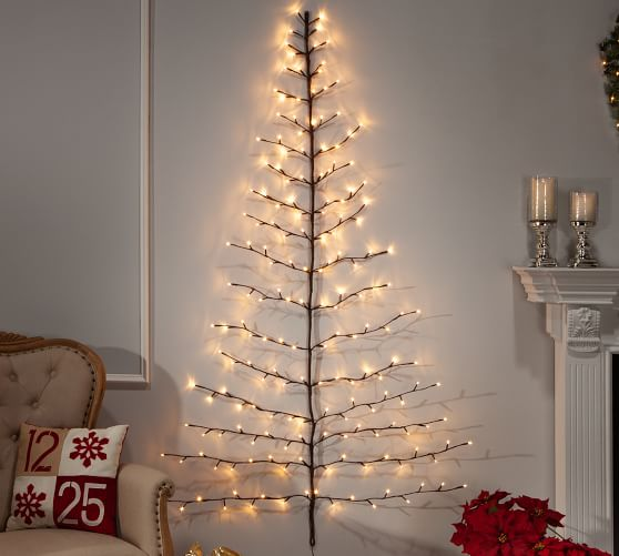 Light Up Tree Shaped Wall Decor Paper Star Lights Artificial Christmas Tree Light Up Tree
