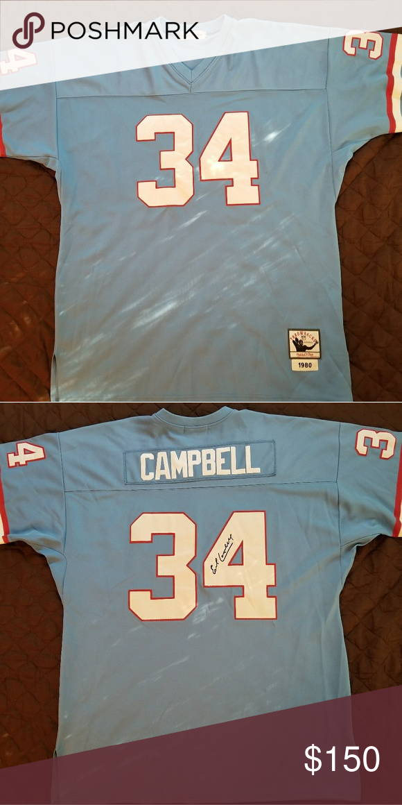 8dfd85ec3 Earl Campbell Houston Oilers  34 Throwback Jersey  Officially Licensed   Authentic  NFL 1980 Oilers  One of The Greatest Running Backs Mitchell    Ness Shirts ...