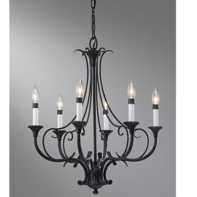 Lark Manor Maiwenn 6 Light Candle Chandelier Black Chandelier