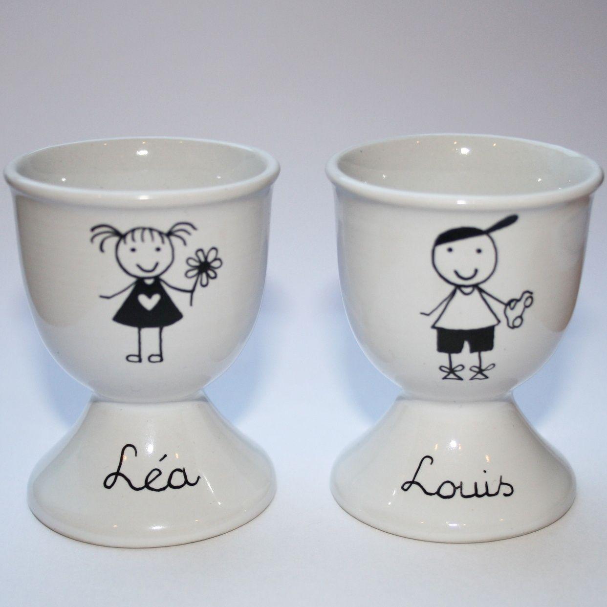 coquetier personnalisable peinture sur porcelaine mod le unique fait main par claudia arts. Black Bedroom Furniture Sets. Home Design Ideas