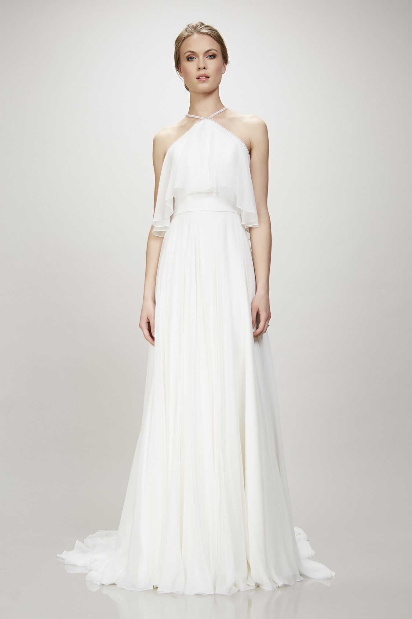 Boho Chiffon Halter Style Wedding Dress  Wedding dress Weddings