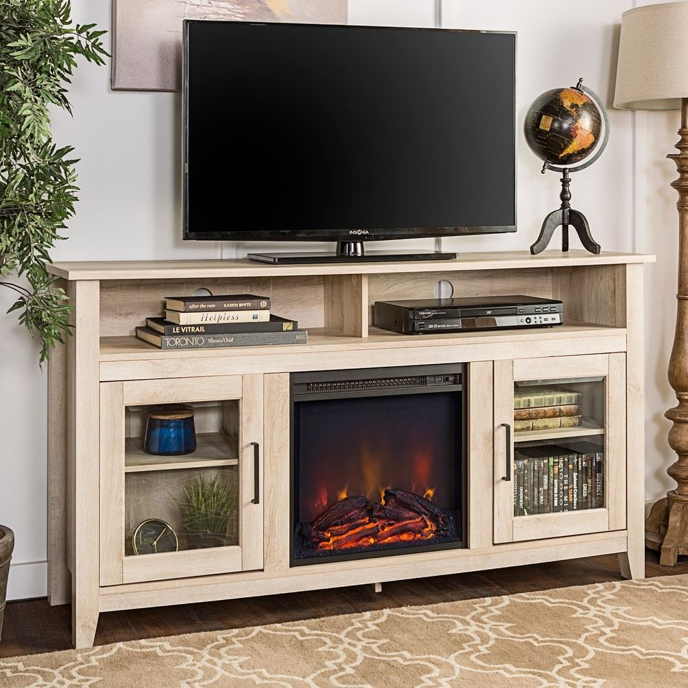 58 Inch Highboy 2 Door Fireplace Tv Stand Console In 2020