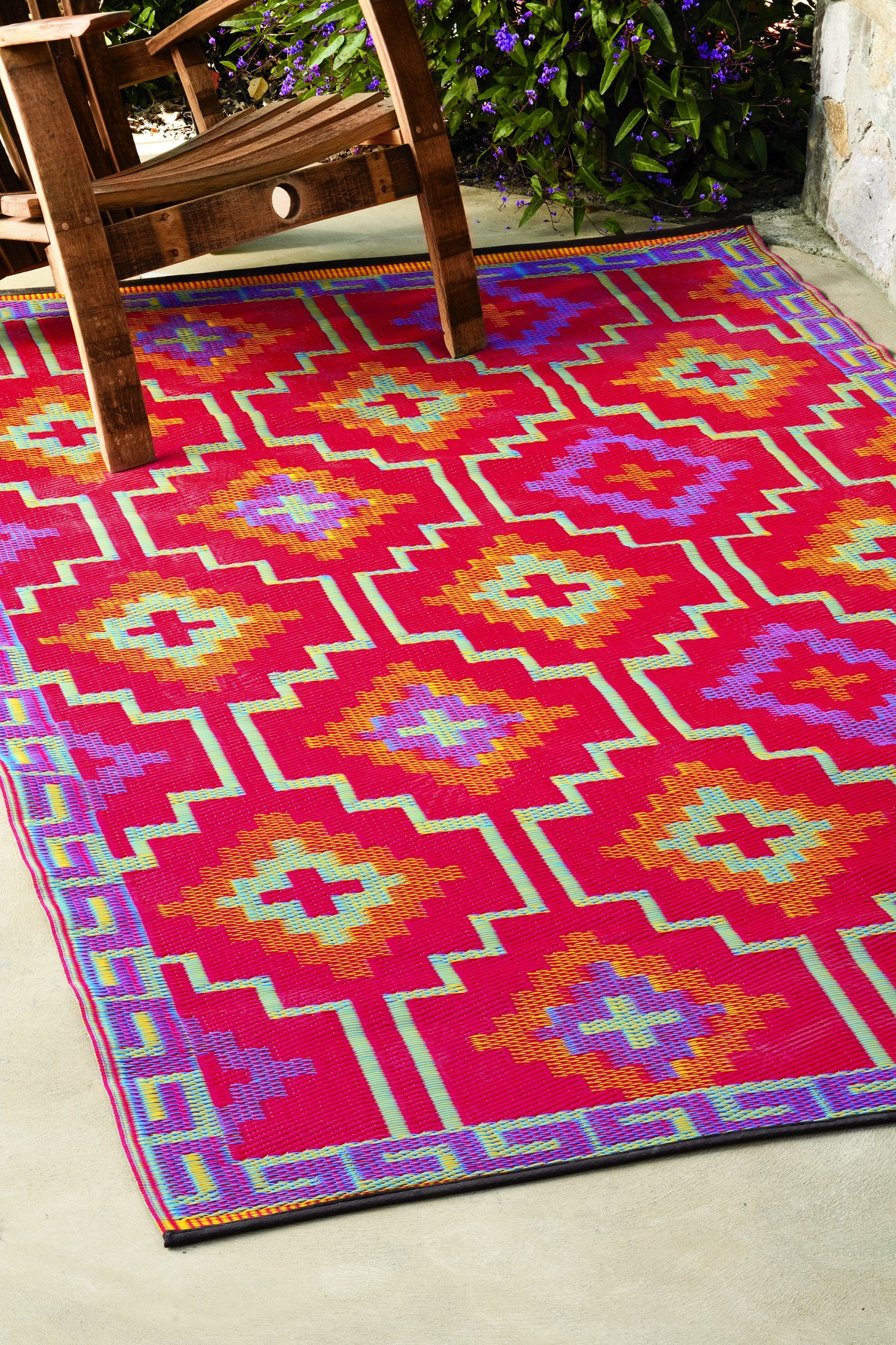 Recycled Plastic Outdoor Rug Lhasa Orange Violet 4 X6 51