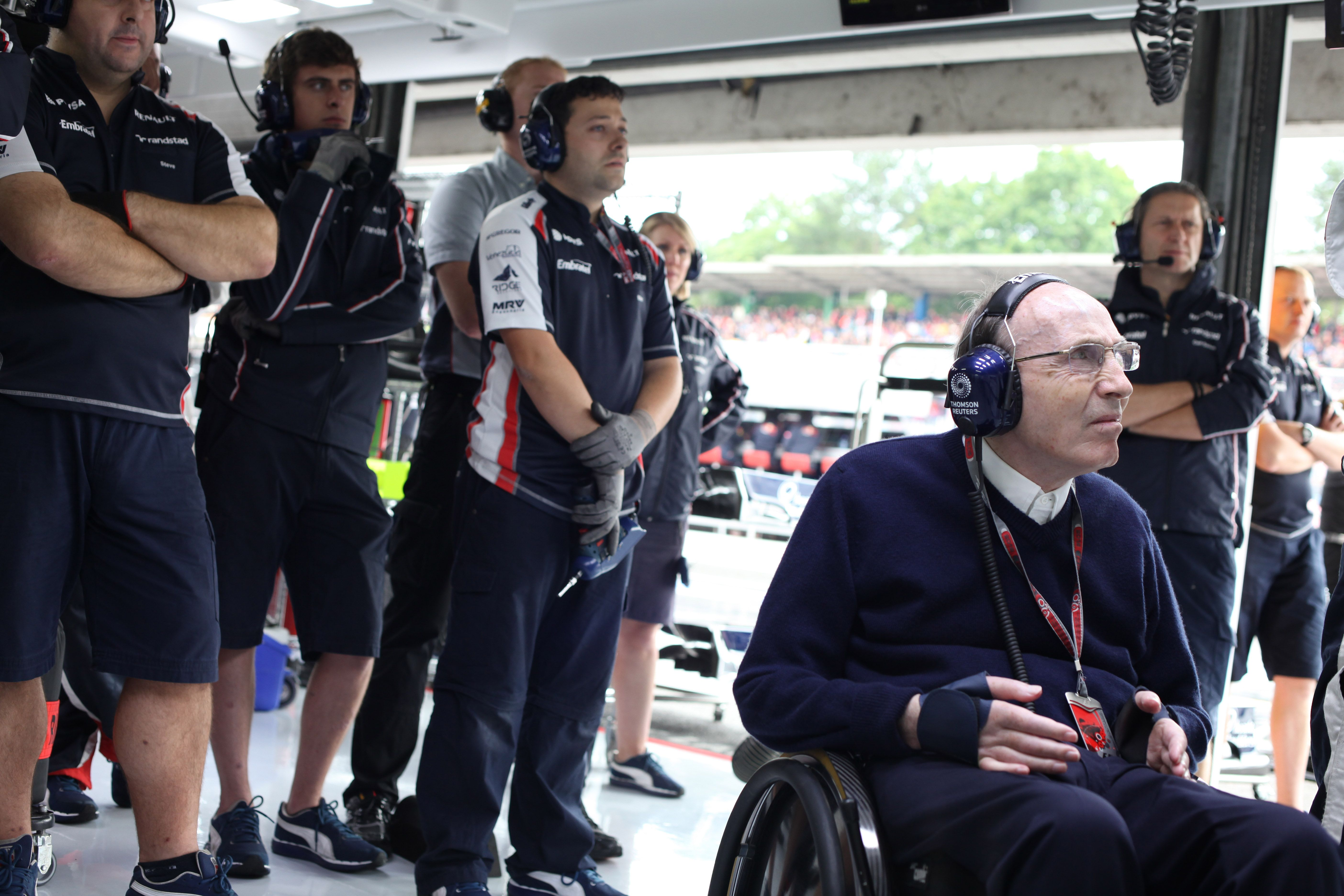 Sir Frank Williams in the garage at the 2012 German GP