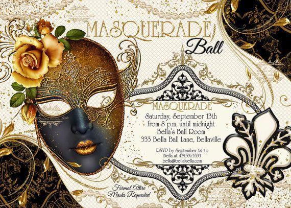 Masquerade Party Invitation, Masquerade Party, Mardi Gras ...