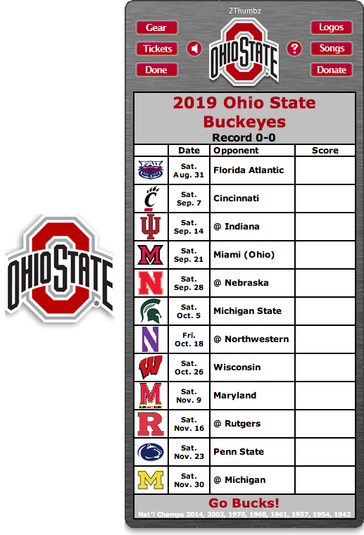 Get your 2019 Ohio State Buckeyes Football Schedule App