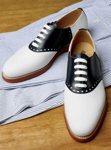 white bucks and saddle shoes