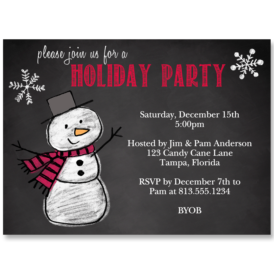 Snowman on Chalkboard Holiday Party Invitation | Holiday party ...