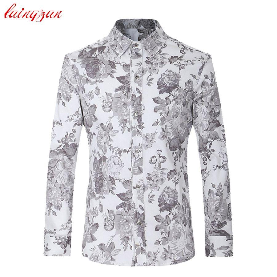 a12e72bc191 Men Dress Shirts Plus Size Euro Size Floral Long Sleeve Blouse Male Slim Fit  Casual Flower Cotton Fashion Social Shirts V008