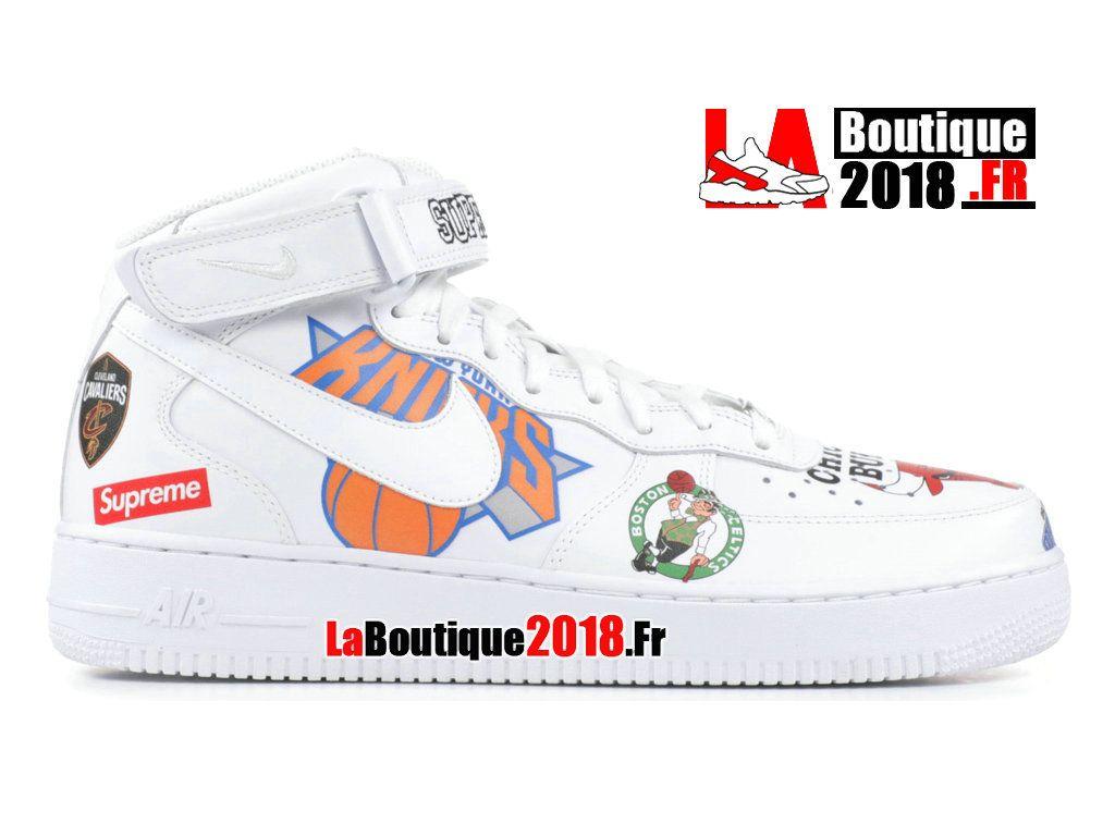 c00f84c3e90518 Supreme x Nike Wmns Air Force 1 Mid NBA Blanc AQ8017-100 Chaussure Nike  Boutique
